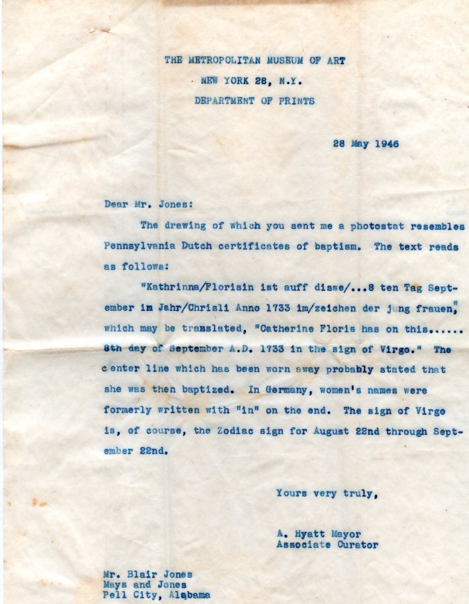 Eva Catherine Flora Research Letter May 1946