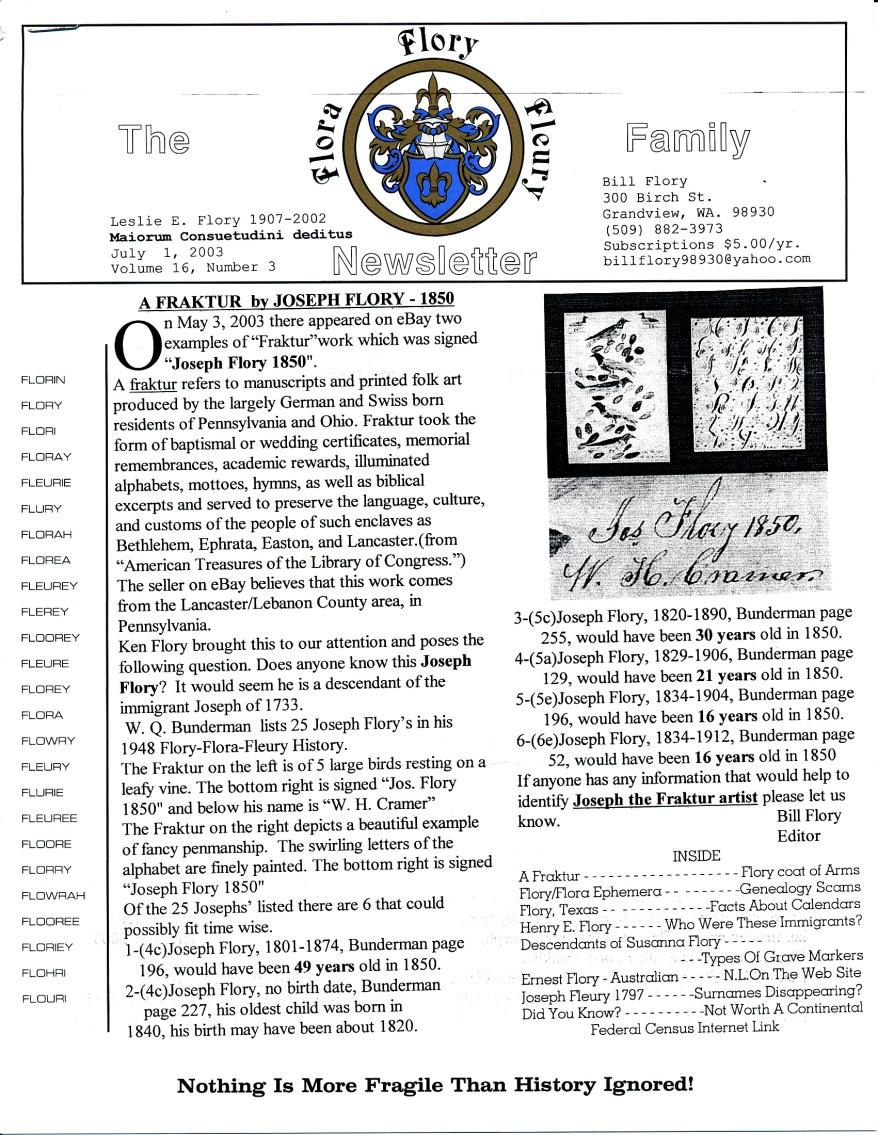 FFF Newsletter  Vol. 16, No. 3   July 2003_0001